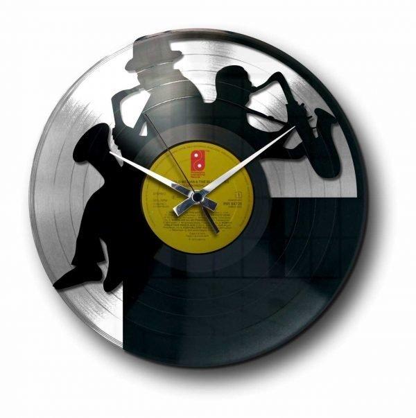 sax silver vinyl record wall clock