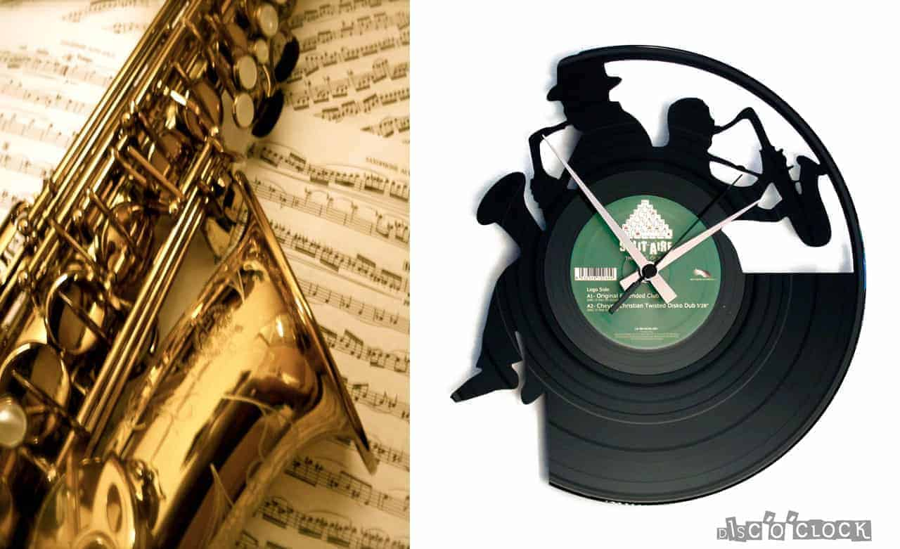 SAX vinyl record clock