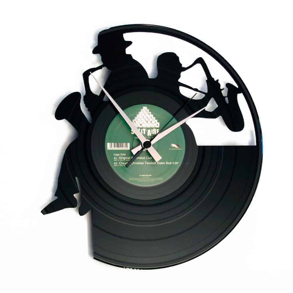 sax players vinyl record clock