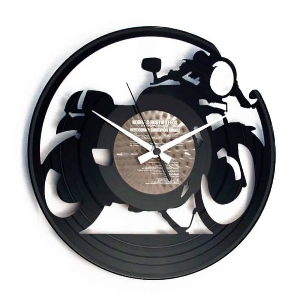 cafe racer vinyl record clock