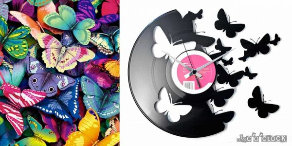 BUTTERFLIES vinyl record clock