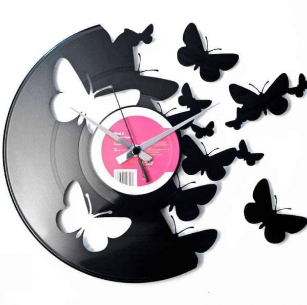 BUTTERFLIES vinyl record clock