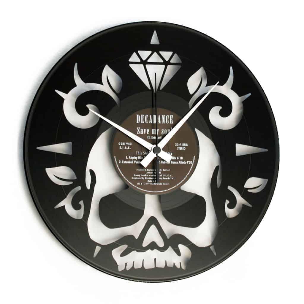 skull vinyl record clock