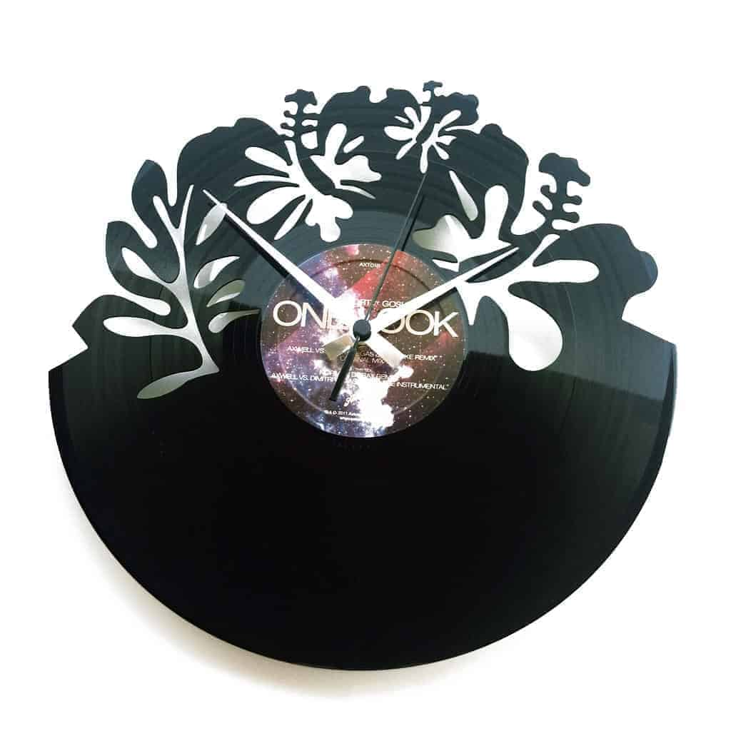 flowers vinyl record clock