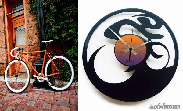 FIXED GEAR vinyl record clock