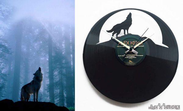 THE WOLF vinyl record clock