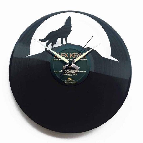 wolf vinyl record clock