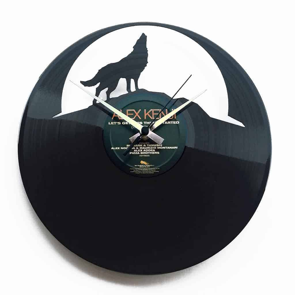THE WOLF vinyl record clock