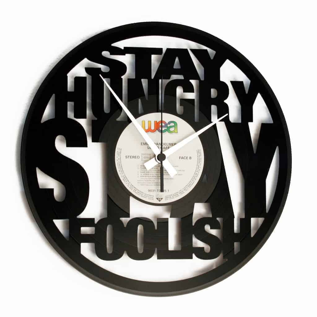 STAY HUNGRY STAY FOOLISH vinyl record clock