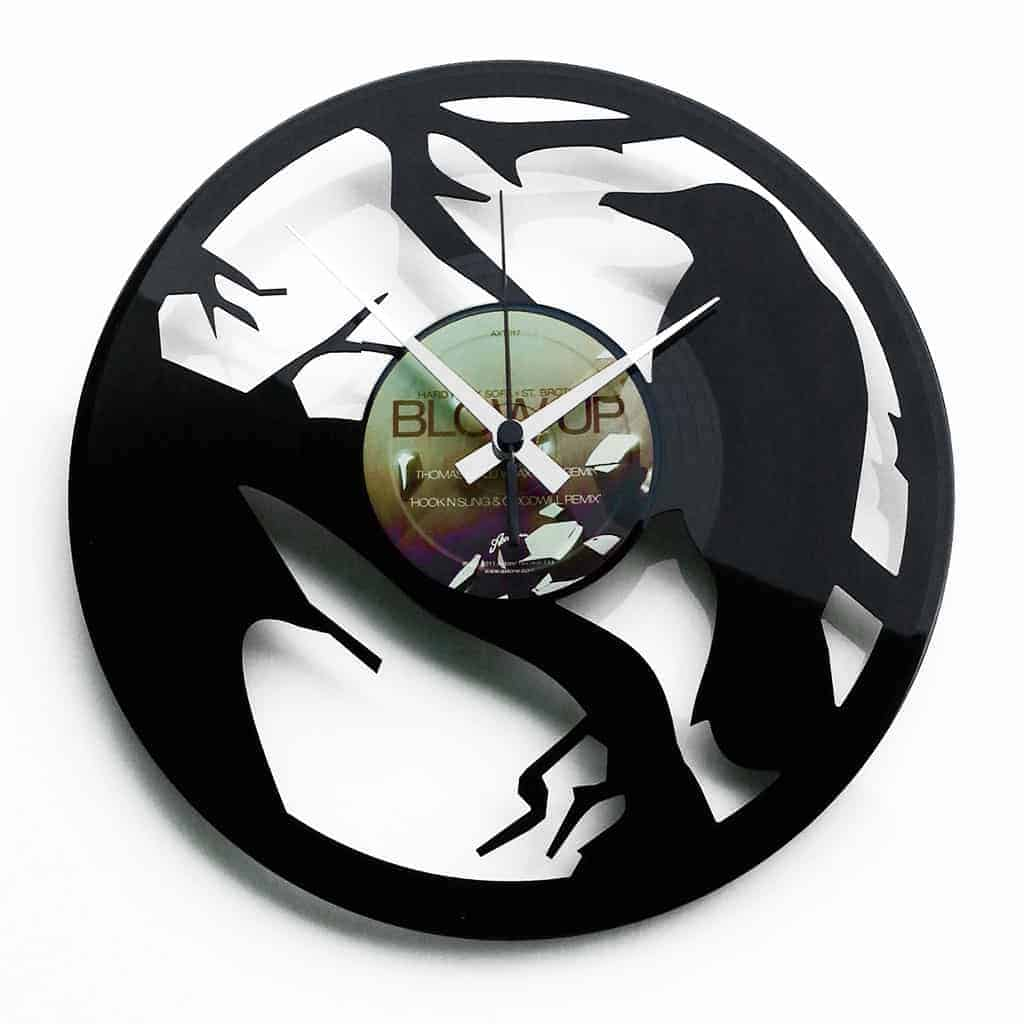 crow vinyl record clock