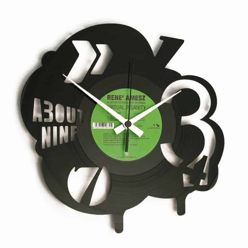 abstract vinyl record clock