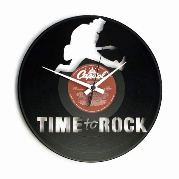 TIME TO ROCK vinyl record clock