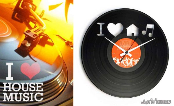 I LOVE HOUSE MUSIC vinyl record clock