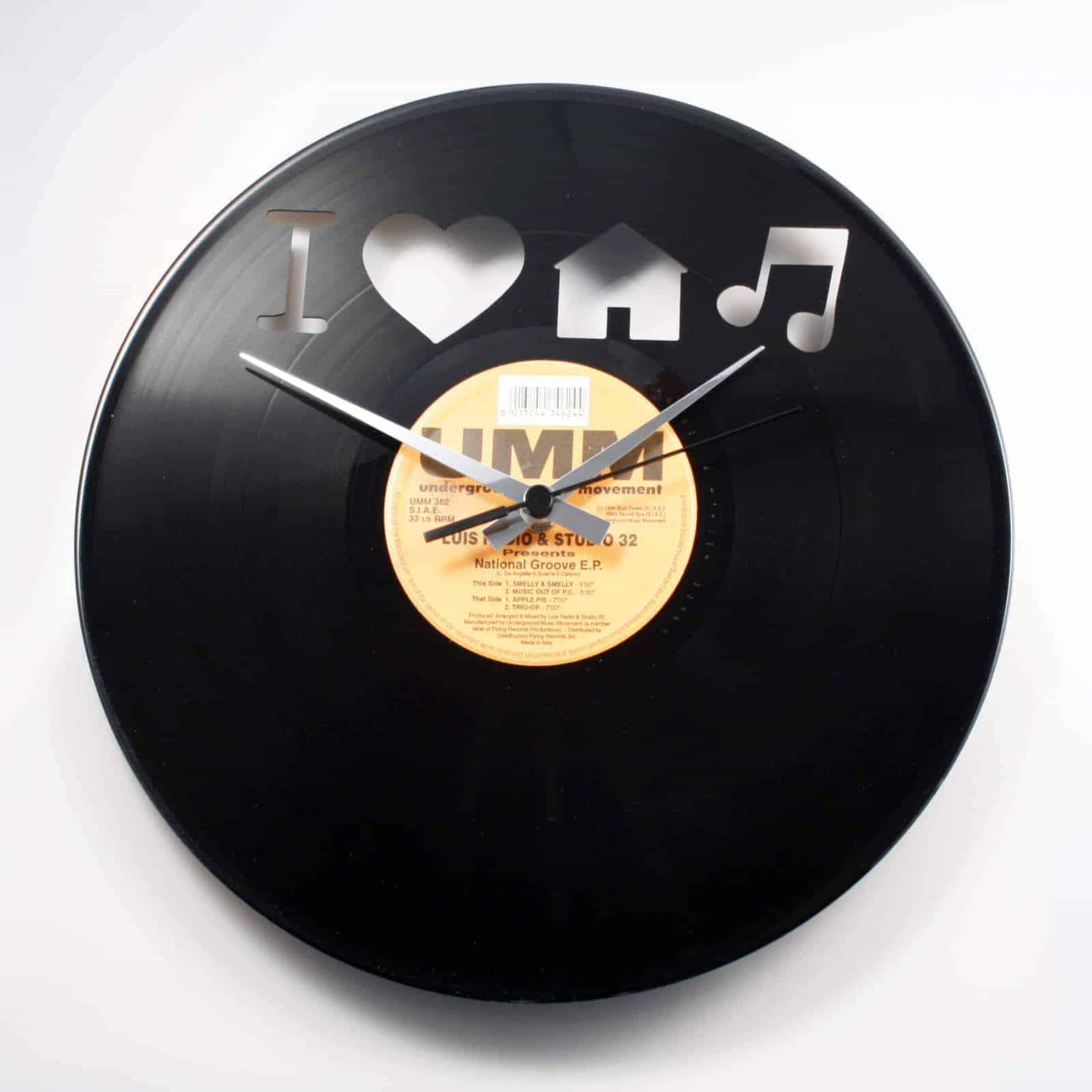 I love house music vinyl record clock for House music records