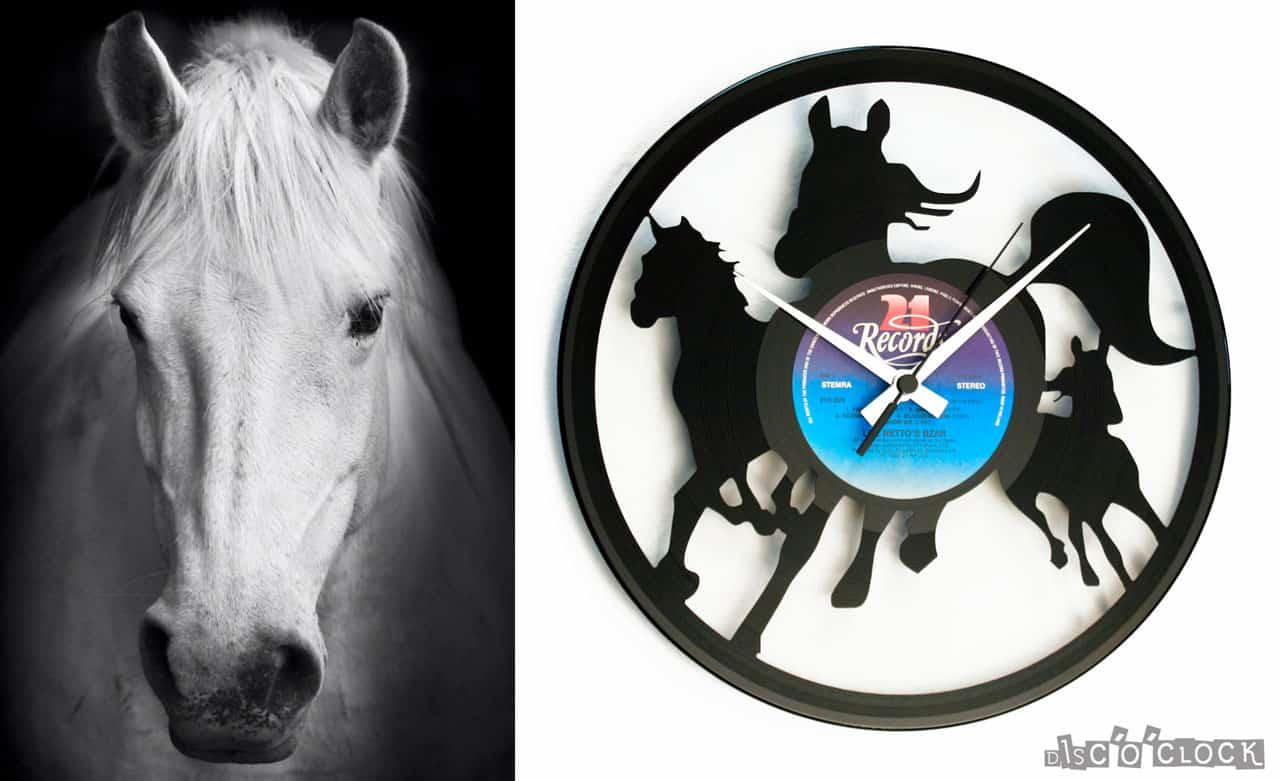 WILD HORSES vinyl record clock