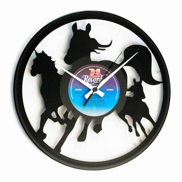 horses vinyl record clock