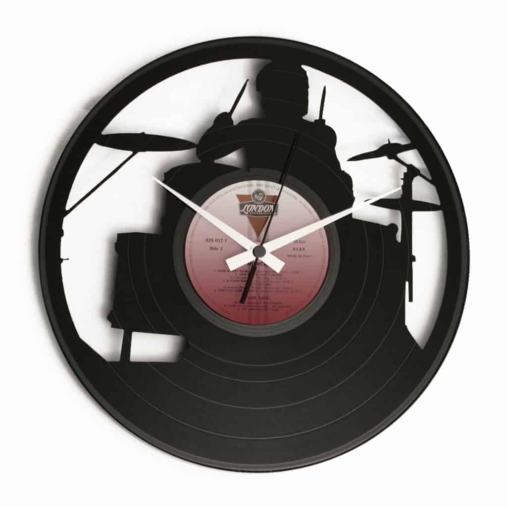 drummer vinyl record clock