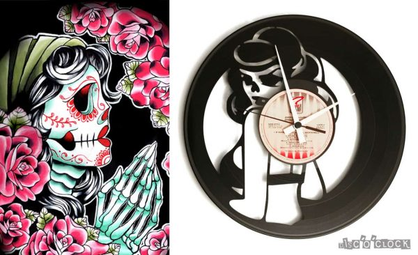 tattoo vinyl record clock