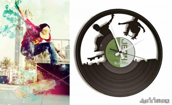 SK8 vinyl record clock