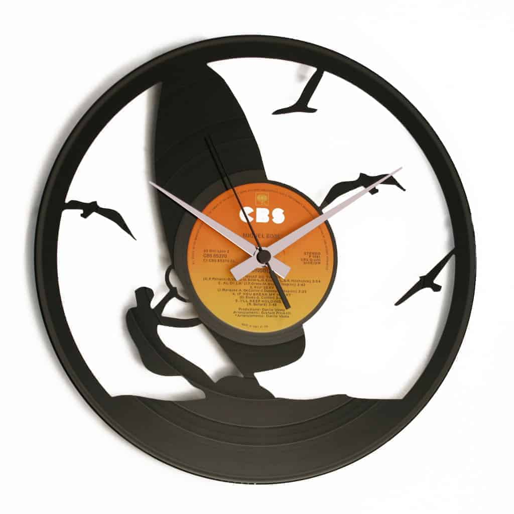 windsurf vinyl record clock