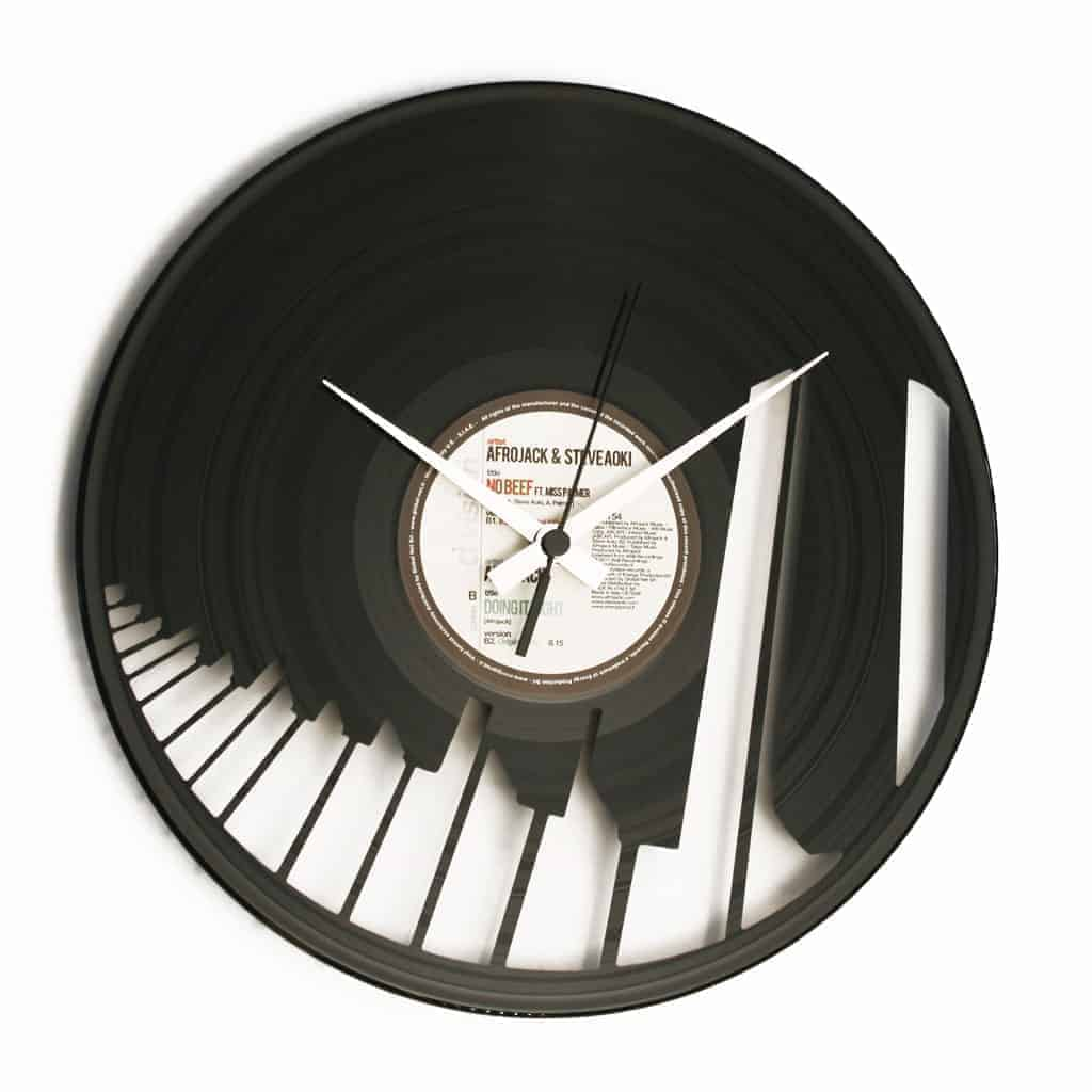 piano vinyl record clock