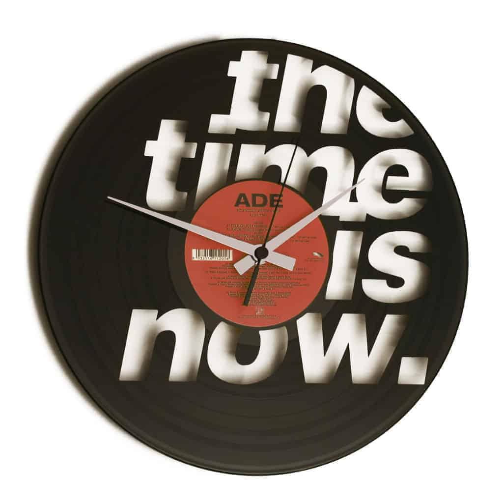 the time is now vinyl record clock