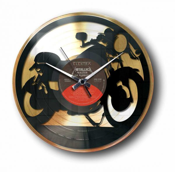 cafe racer bike Golden vinyl record wall clock
