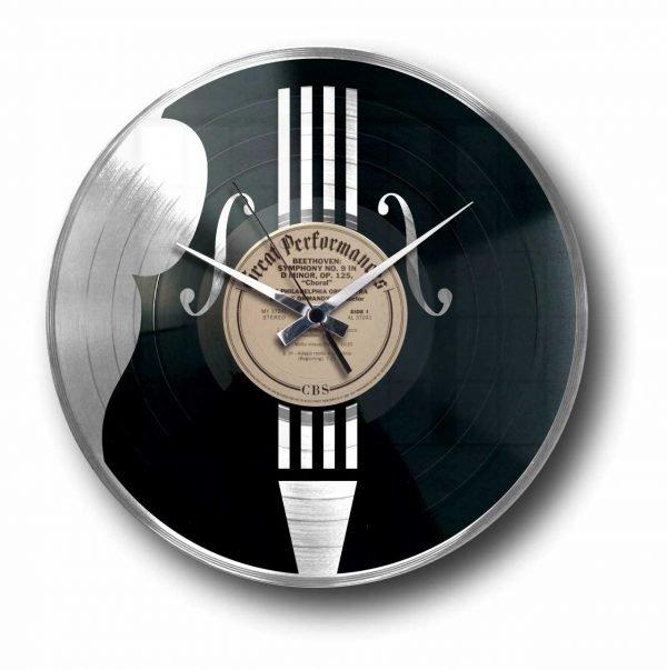 contrabass violin silver vinyl record clock