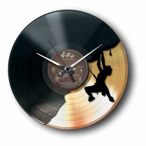 mountain climber gold vinyl record wall clock