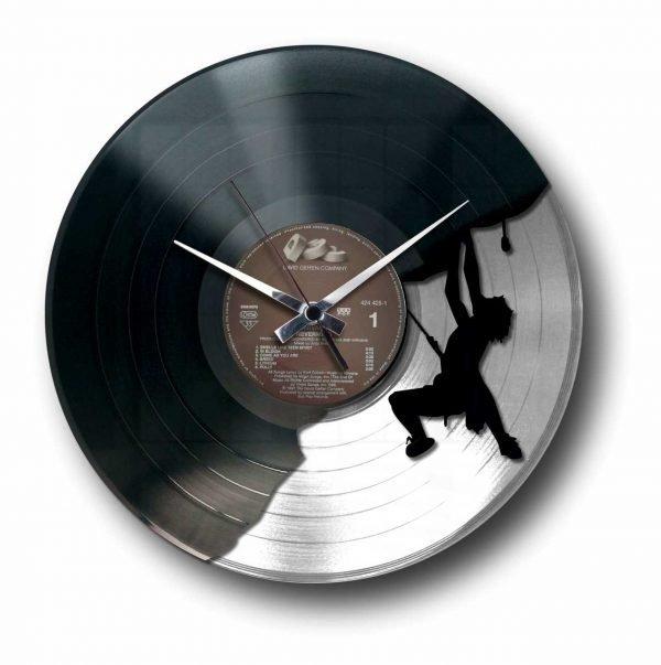 mountain climber silver vinyl record wall clock