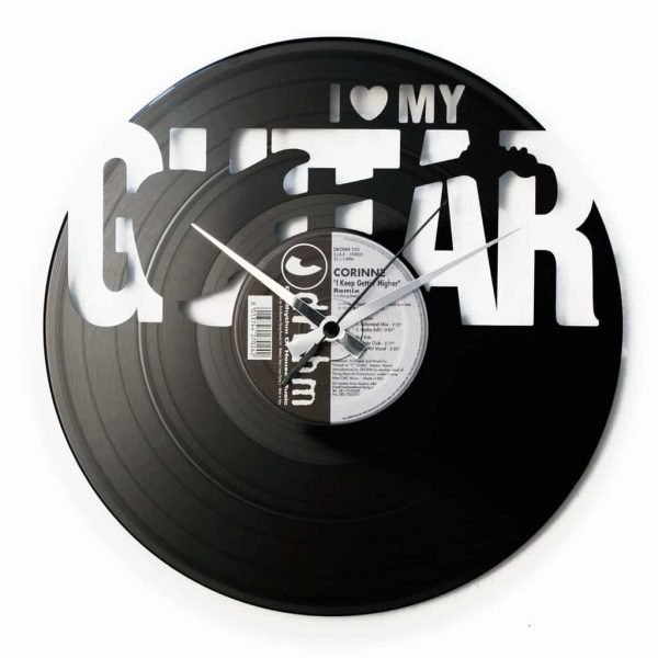 LOVE MY GUITAR vinyl record clock