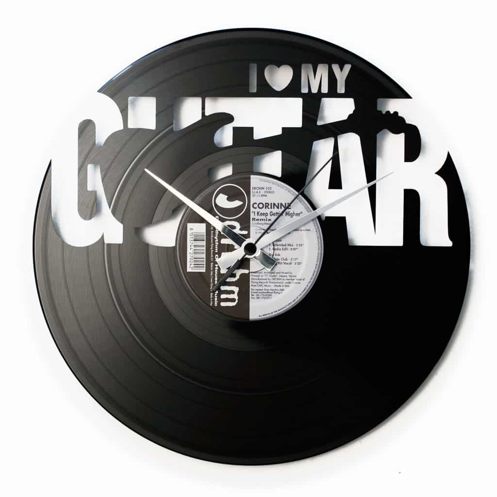 LOVE MY GUITAR vinyl record clock