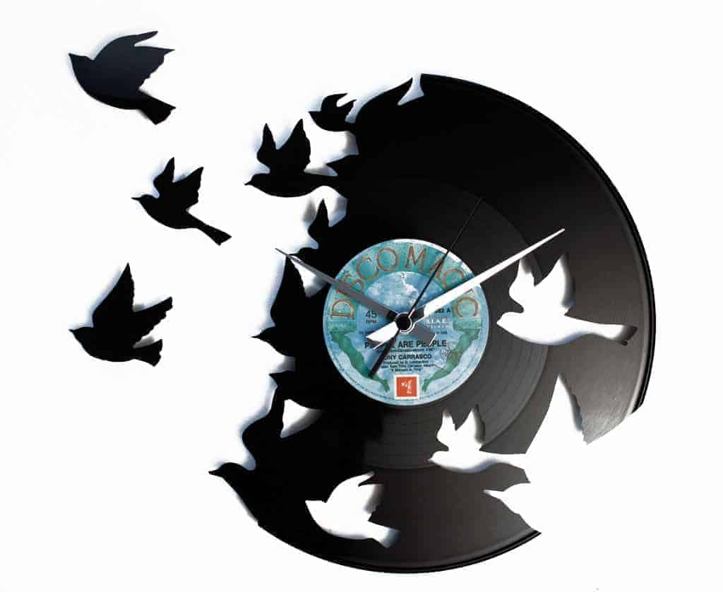 BIRDS VINYL RECORD CLOCK