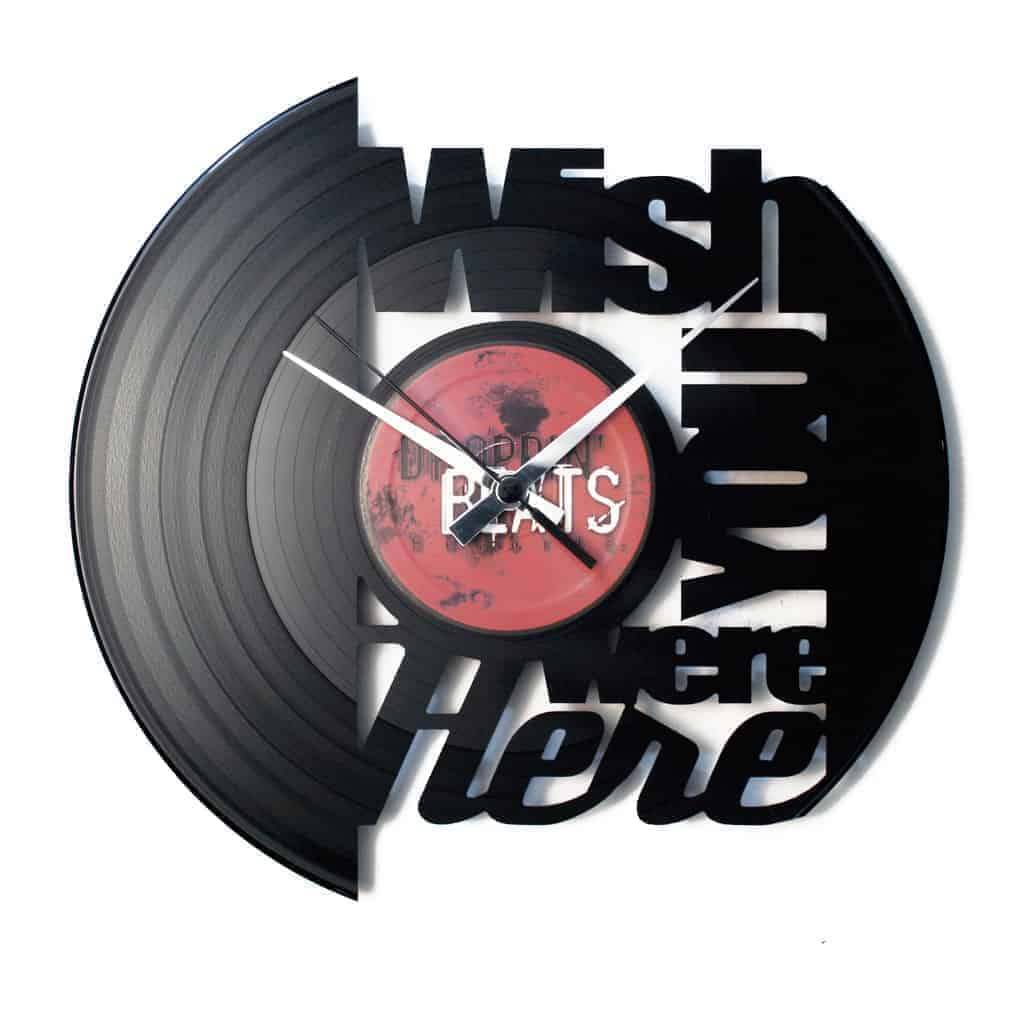 WISH YOU WERE HERE vinyl record clock