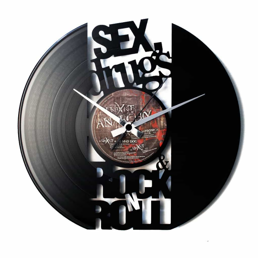 SEX DRUGS AND ROCK'N'ROLL vinyl record clock