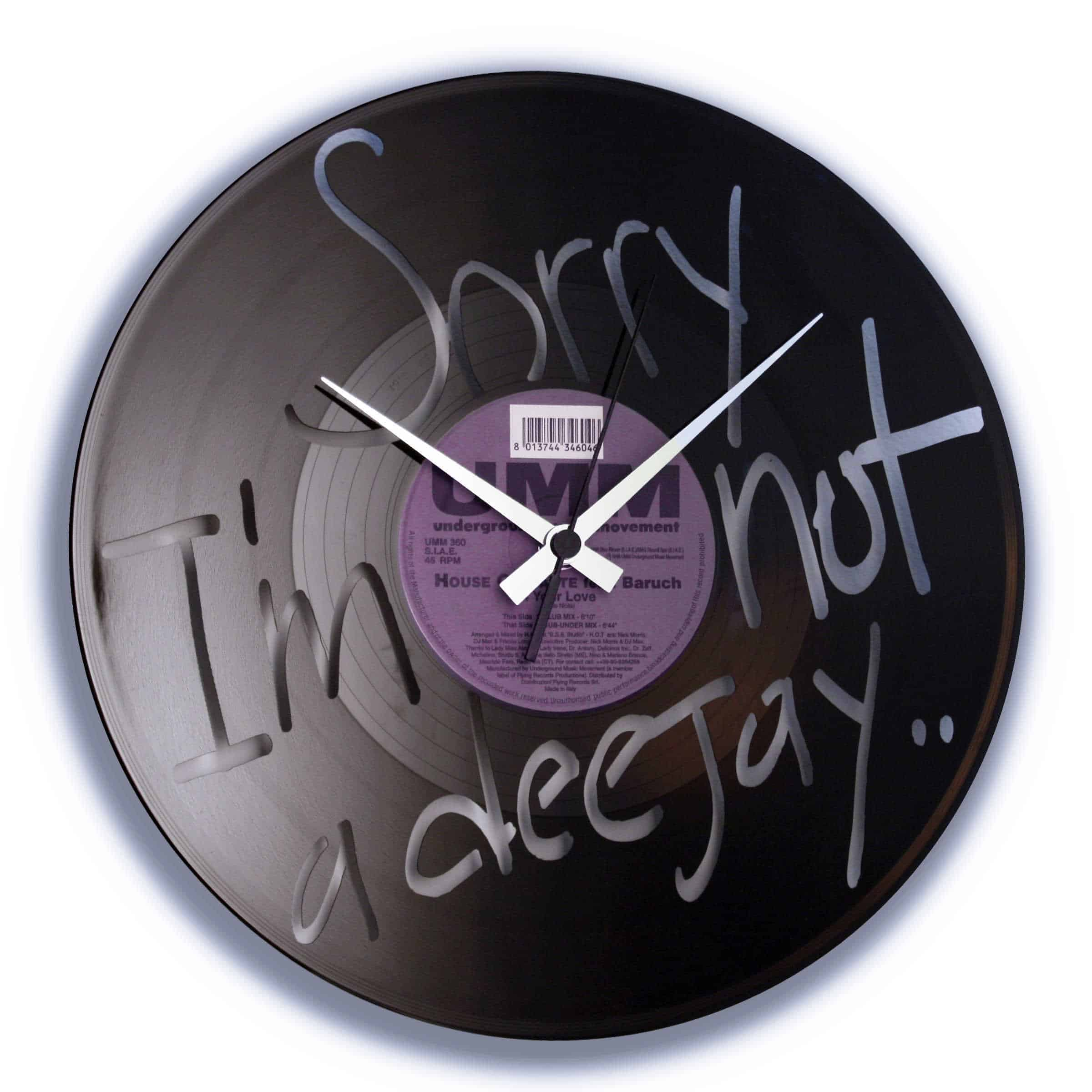 sorry i'm not a deejay, spoon my, vinyl clock, deejay