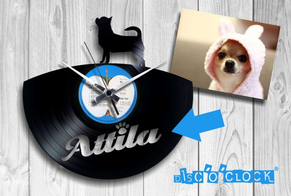 "Custom ""CHIHUAHUA"" clock with your dog's name engraved"