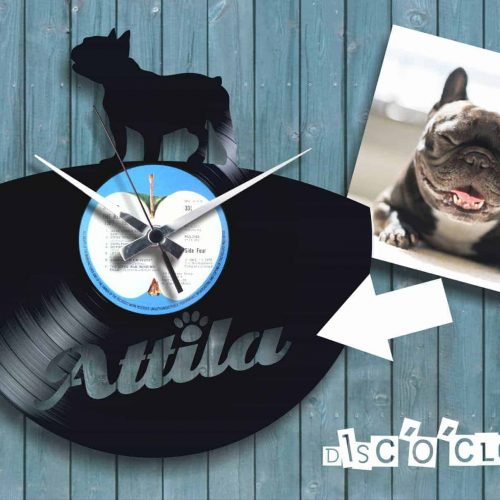 french bulldog custom record clock