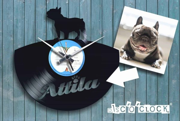 "Custom ""FRENCH BULLDOG"" clock with your dog's name engraved"