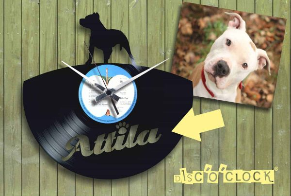 "Custom ""PITBULL"" clock with your dog's name engraved!"