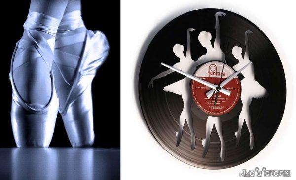 BALLERINAS vinyl record clock