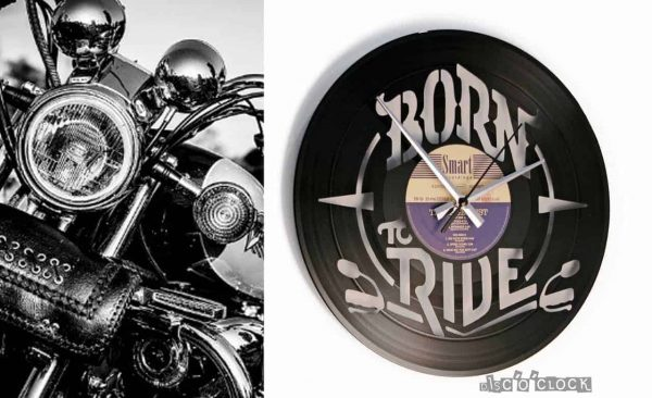 BORN TO RIDE  vinyl record clock