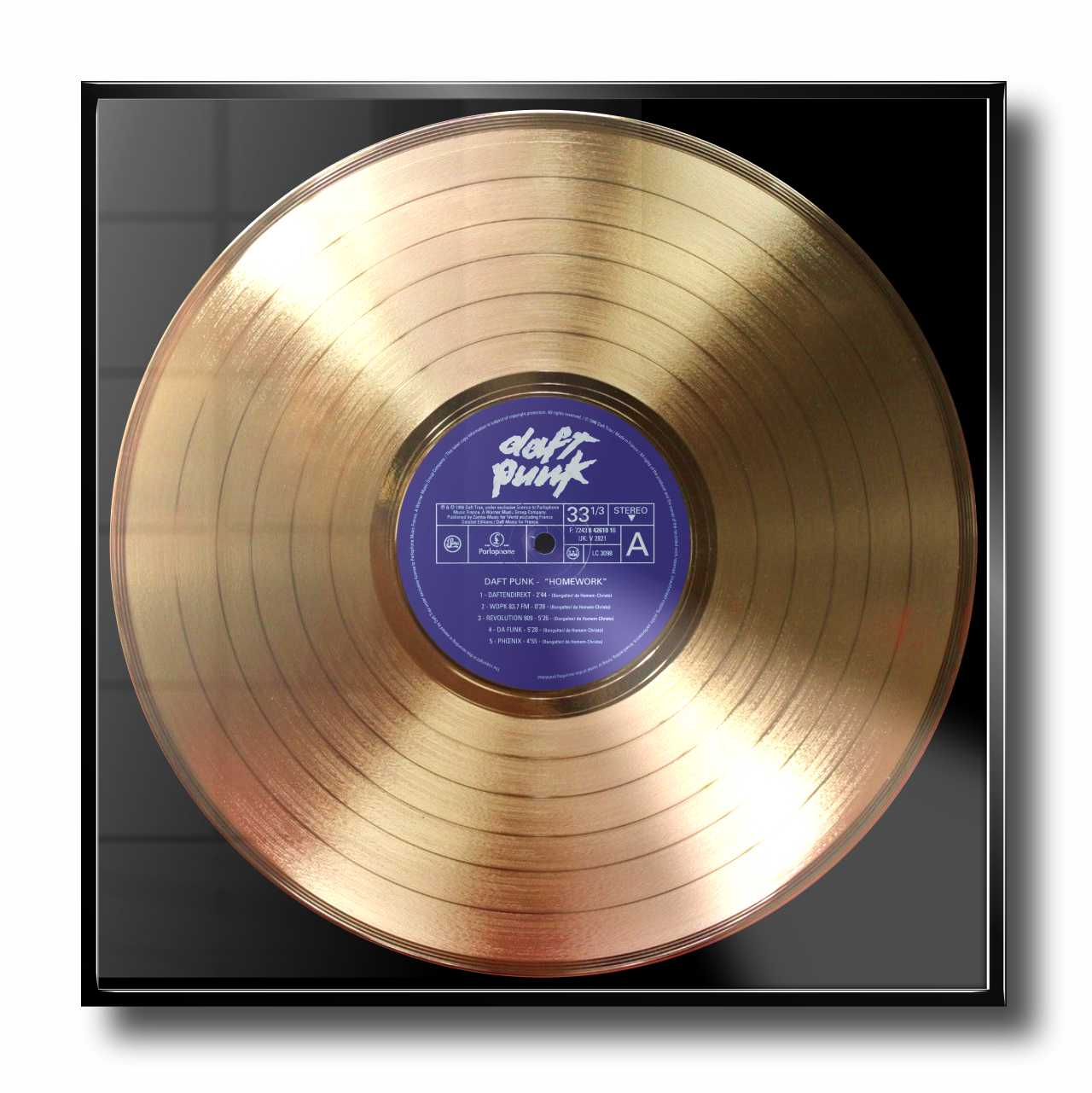 Daft Punk Homework Framed Gold Plated Vinyl Record