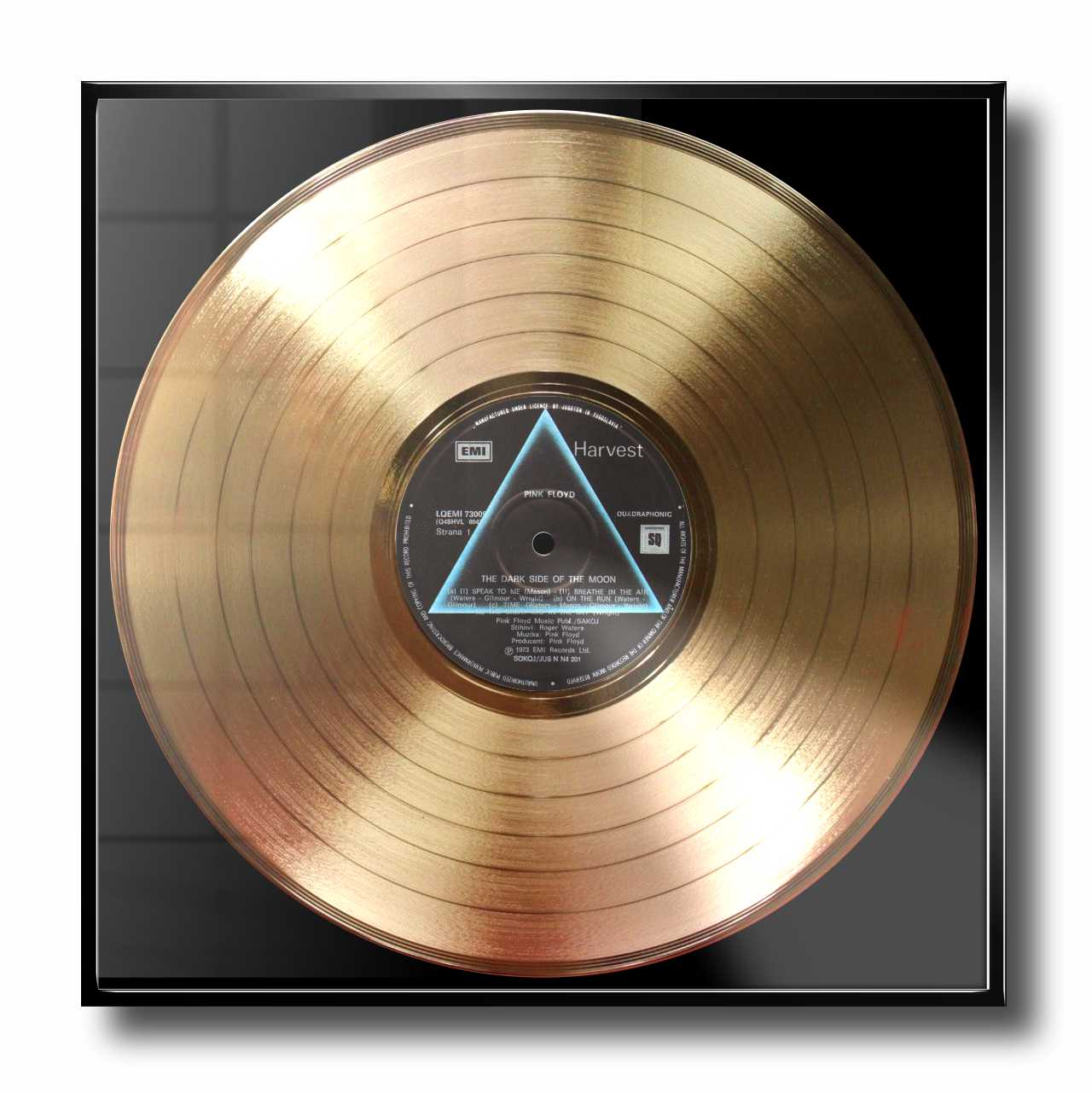 PINK FLOYD - THE DARK SIDE OF THE MOON: FRAMED GOLD PLATED VINYL RECORD