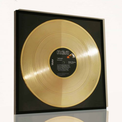 framed plated golden vinyl record david bowie heroes