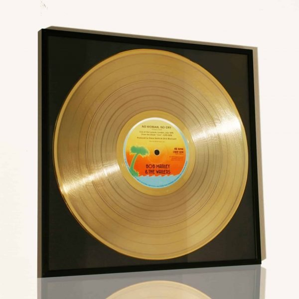 BOB MARLEY – NO WOMAN NO CRY: FRAMED GOLD PLATED VINYL RECORD