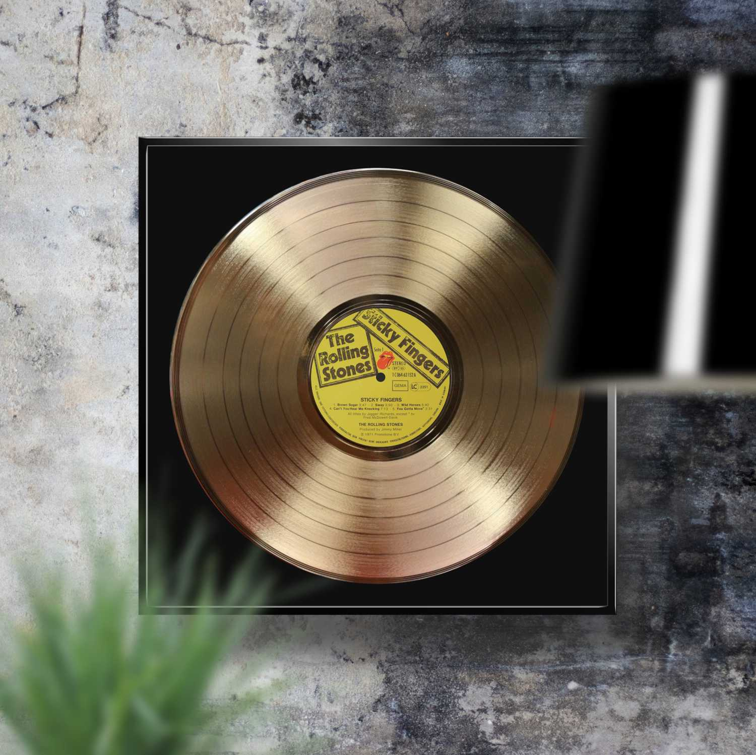 ROLLING STONES - STICKY FINGERS: FRAMED GOLD PLATED VINYL RECORD