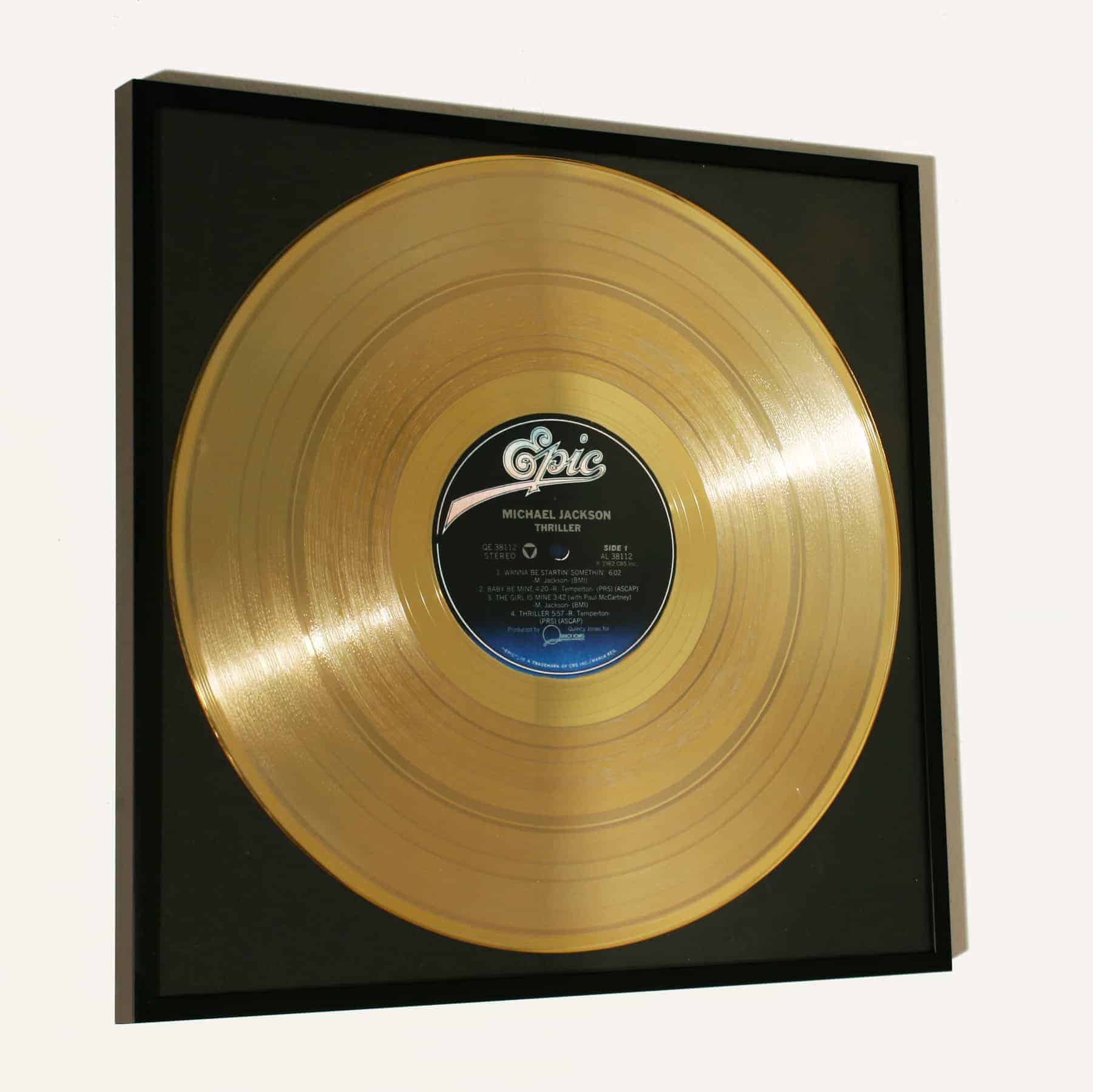 MICHAEL JACKSON – THRILLER: FRAMED GOLD PLATED VINYL RECORD