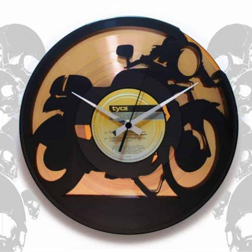 VINYL RECORD CLOCKS WITH BIKES & CARS
