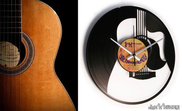 GUITAR vinyl record clock